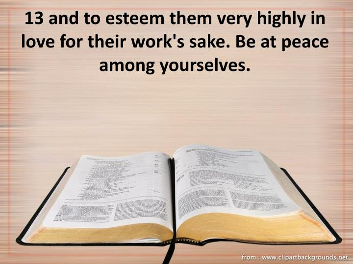 13 and to esteem them very highly in love for their work's sake. Be at peace among yourselves.
