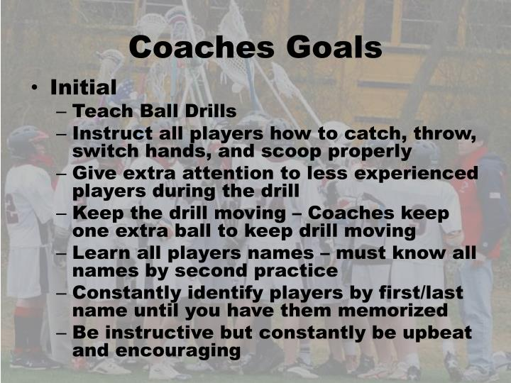 Coaches Goals