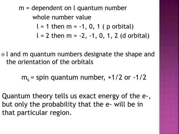 m = dependent on l quantum
