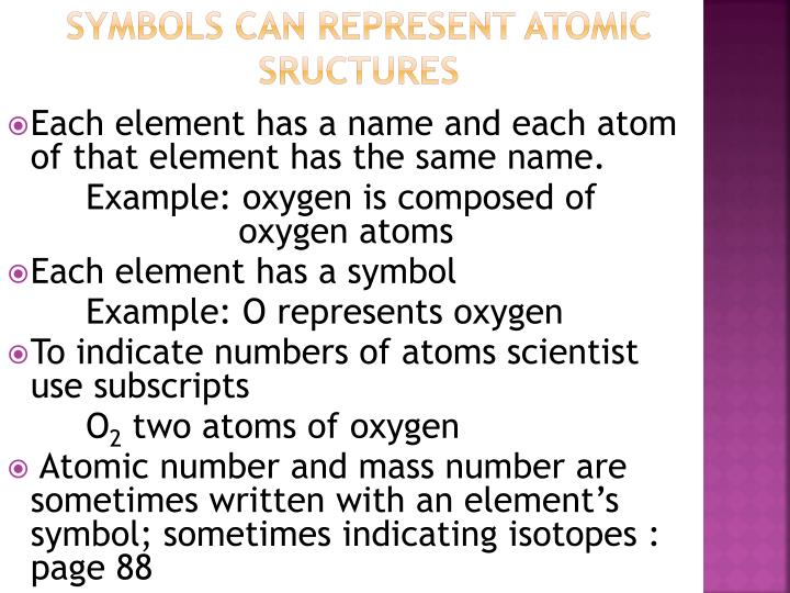 SYMBOLS CAN REPRESENT ATOMIC SRUCTURES