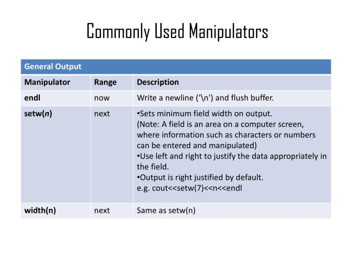Commonly Used Manipulators