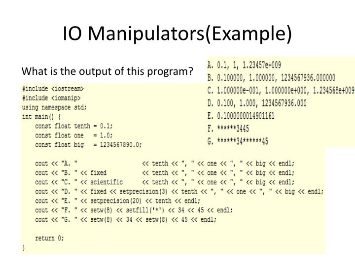 IO Manipulators(Example)