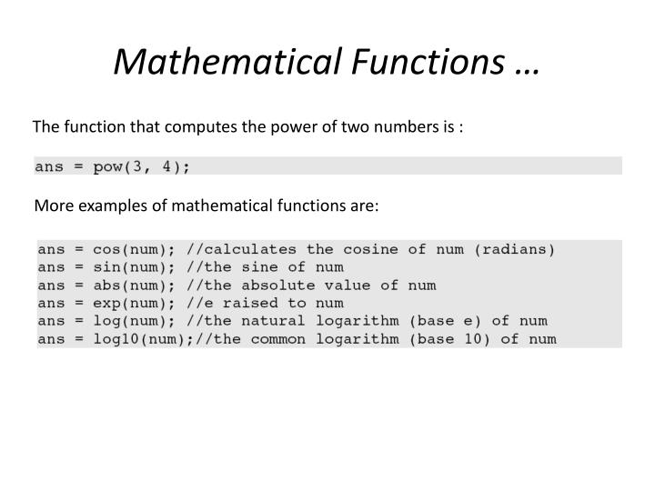 Mathematical Functions …