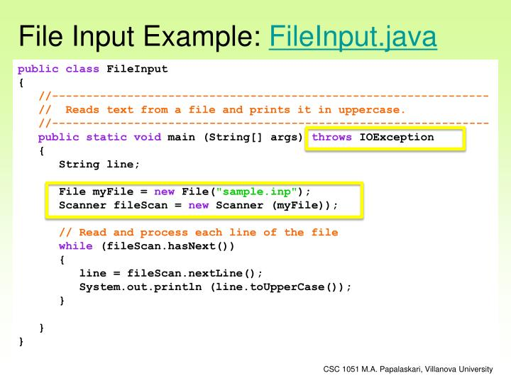 File Input Example: