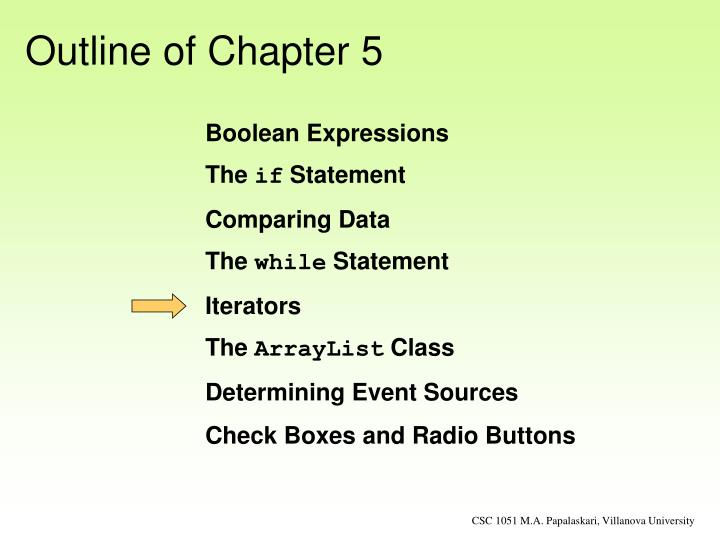 Outline of Chapter 5