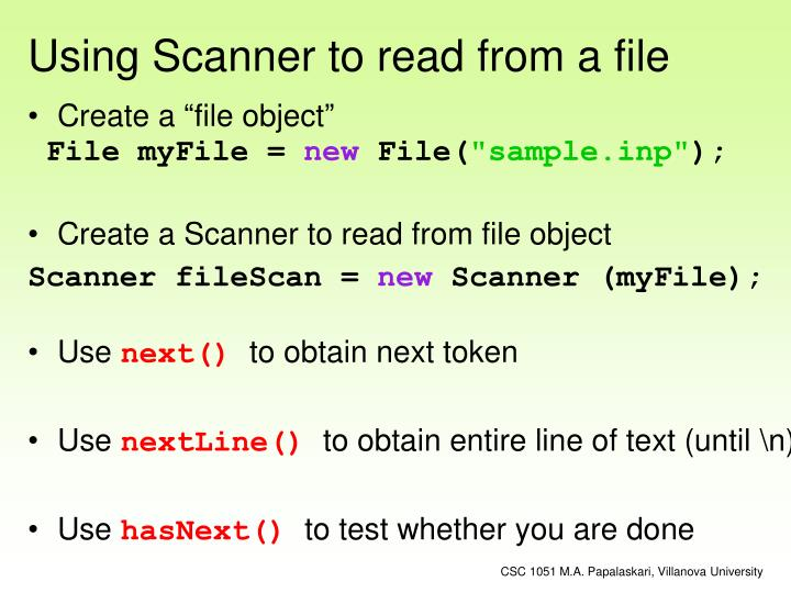 Using Scanner to read from a file