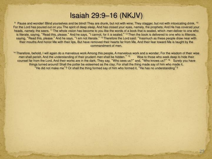 Isaiah 29:9–16 (NKJV)