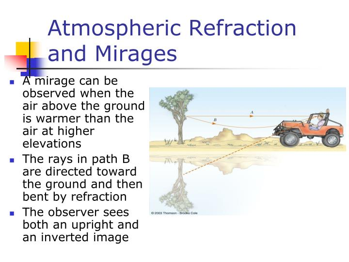 Atmospheric Refraction and Mirages