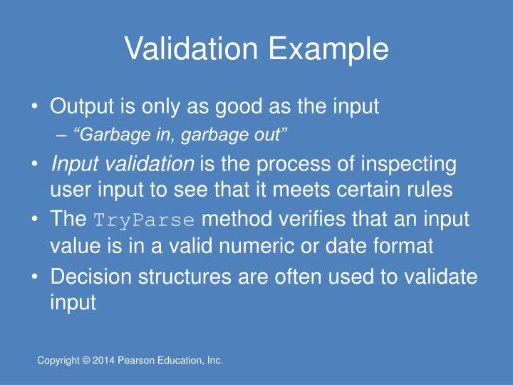 Validation Example