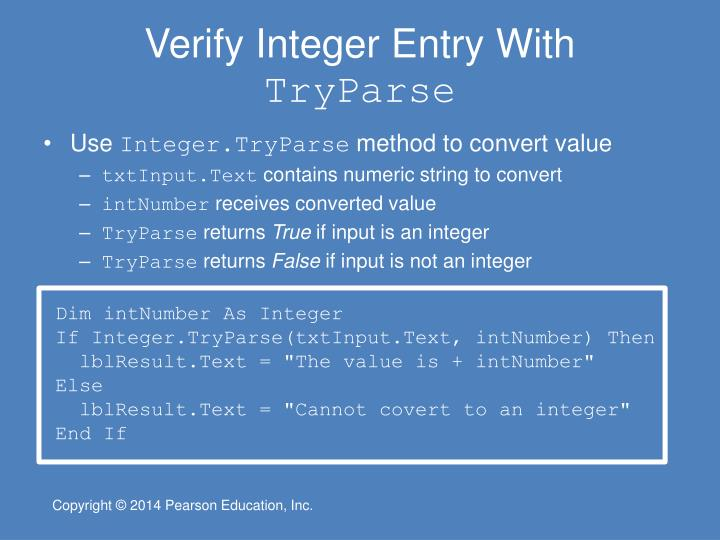 Verify Integer Entry With