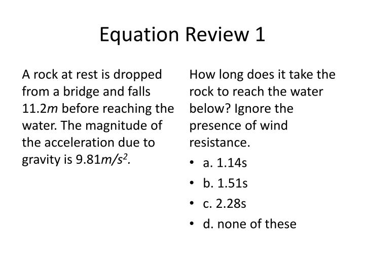 Equation Review 1
