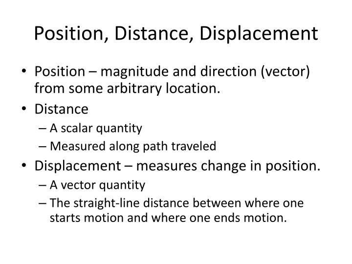 Position, Distance, Displacement