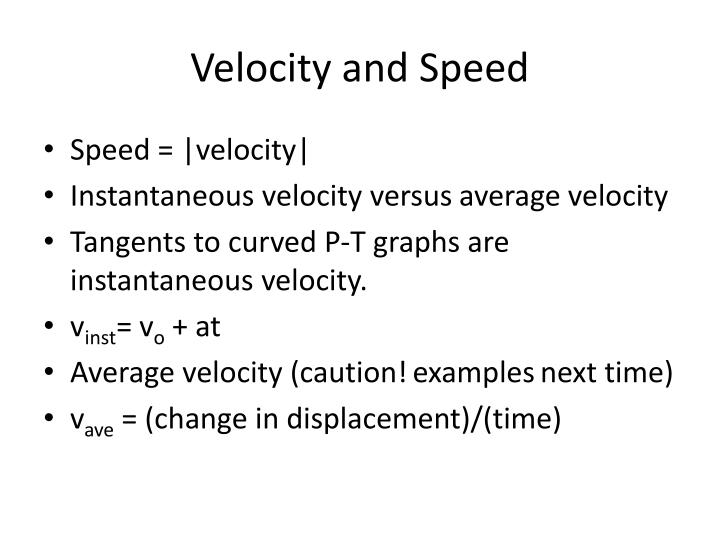 Velocity and Speed