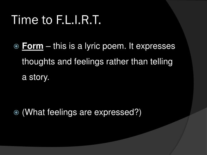 Time to F.L.I.R.T.