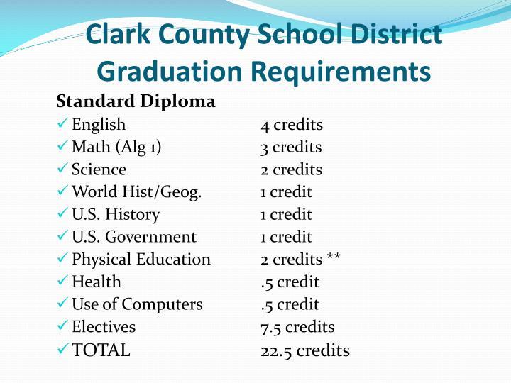 Clark County School District Graduation Requirements