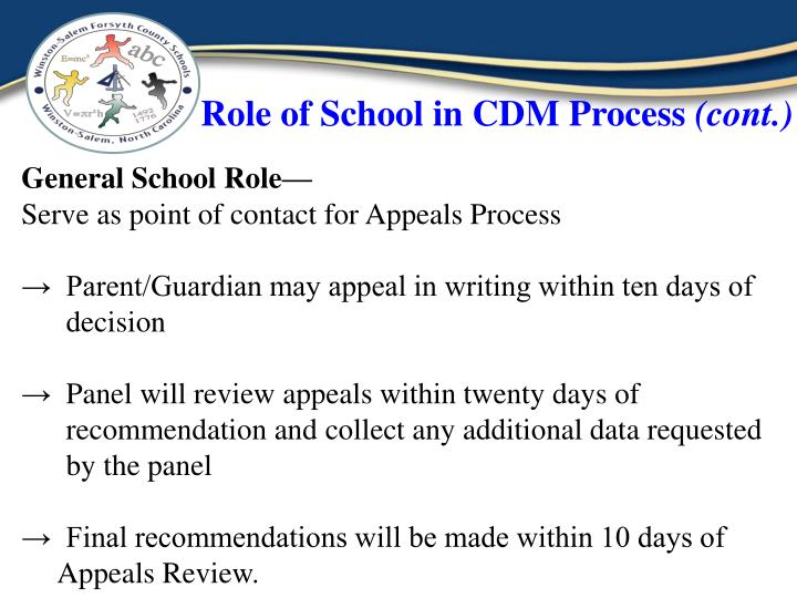Role of School in CDM Process