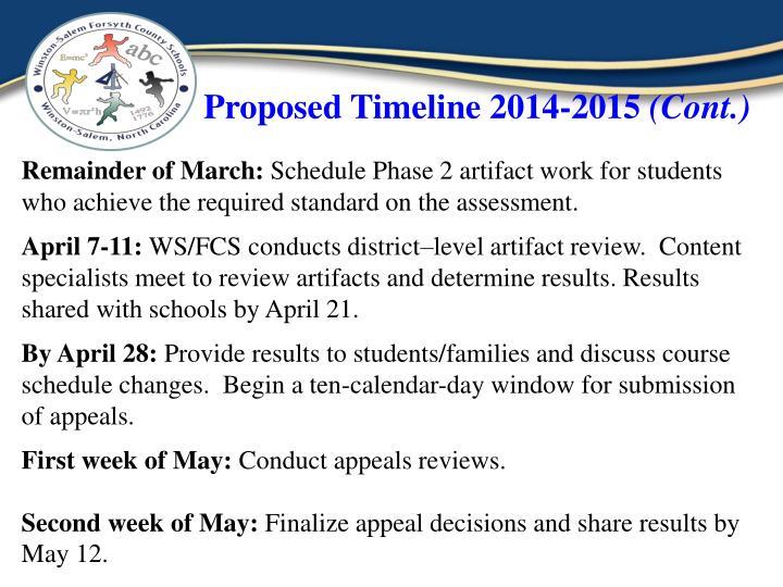 Proposed Timeline 2014-2015