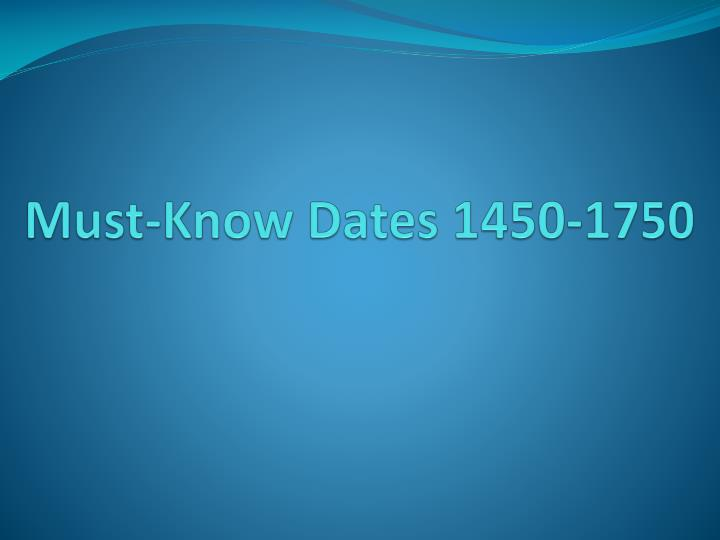 Must-Know Dates 1450-1750