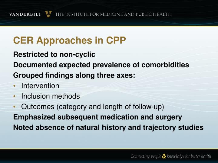 CER Approaches in CPP