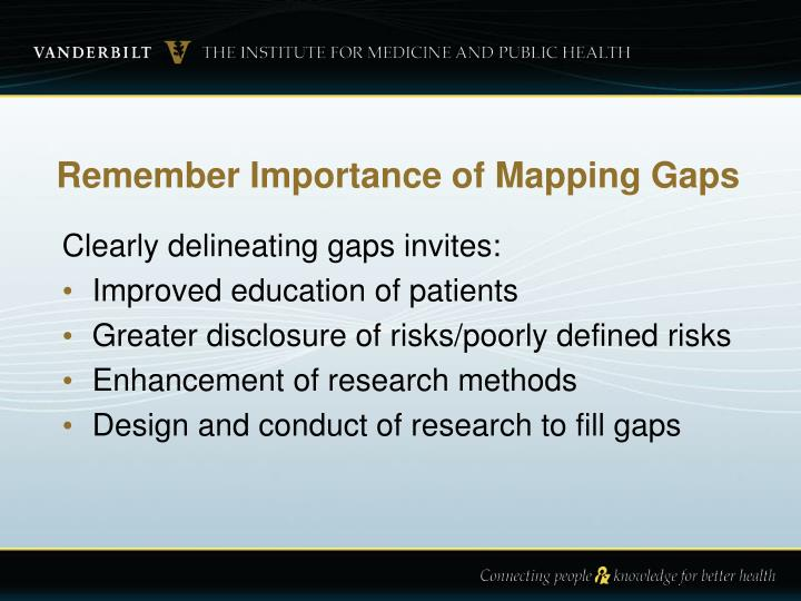 Remember Importance of Mapping Gaps