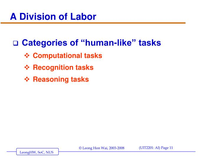 A Division of Labor