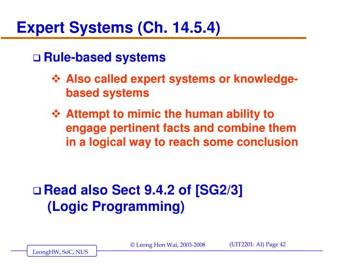 Expert Systems (Ch. 14.5.4)