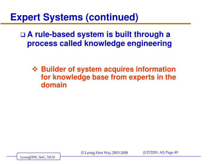 Expert Systems (continued)