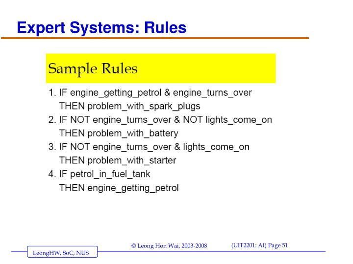 Expert Systems: Rules