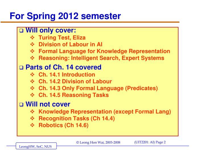 For Spring 2012 semester