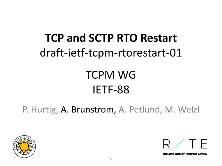Tcp and sctp rto restart draft ietf tcpm rtorestart 01 tcpm wg ietf 88