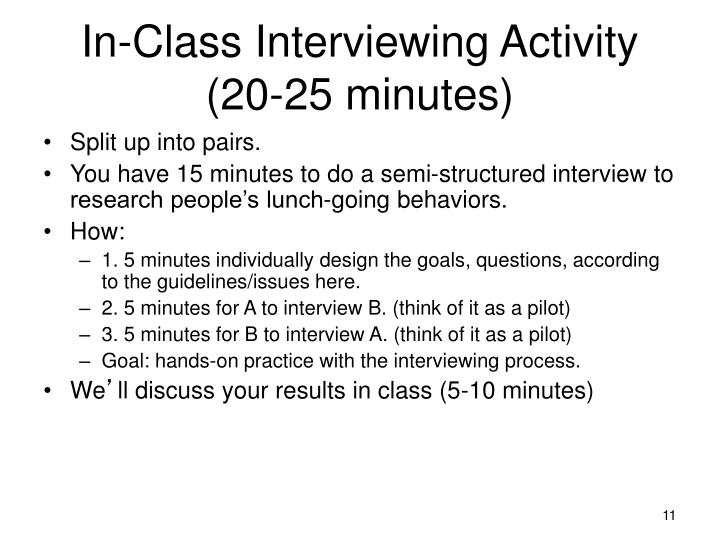In-Class Interviewing Activity