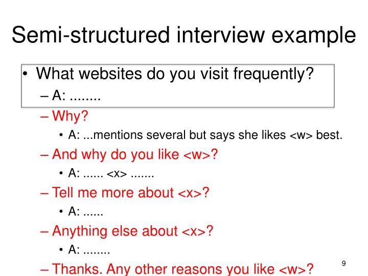 Semi-structured interview example