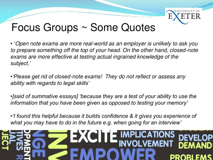 Focus Groups ~ Some Quotes