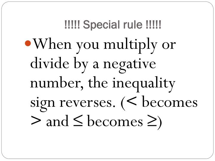 !!!!! Special rule !!!!!