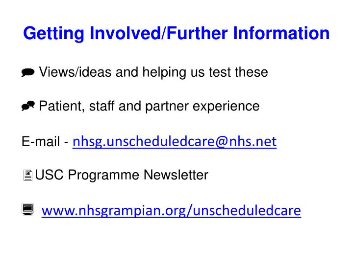Getting Involved/Further Information