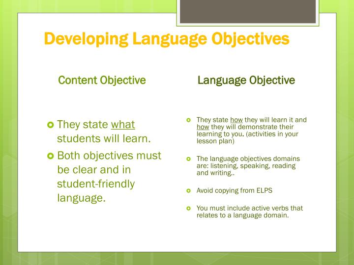 Developing Language Objectives