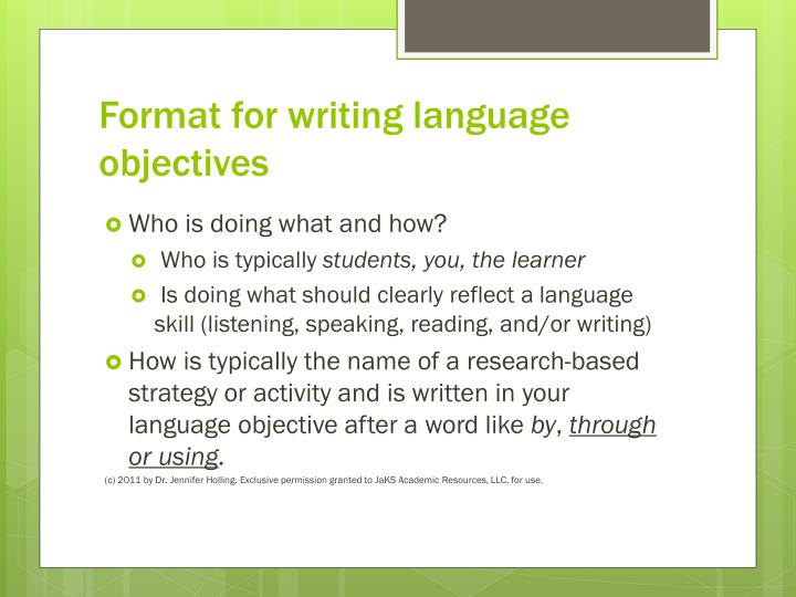 Format for writing language objectives