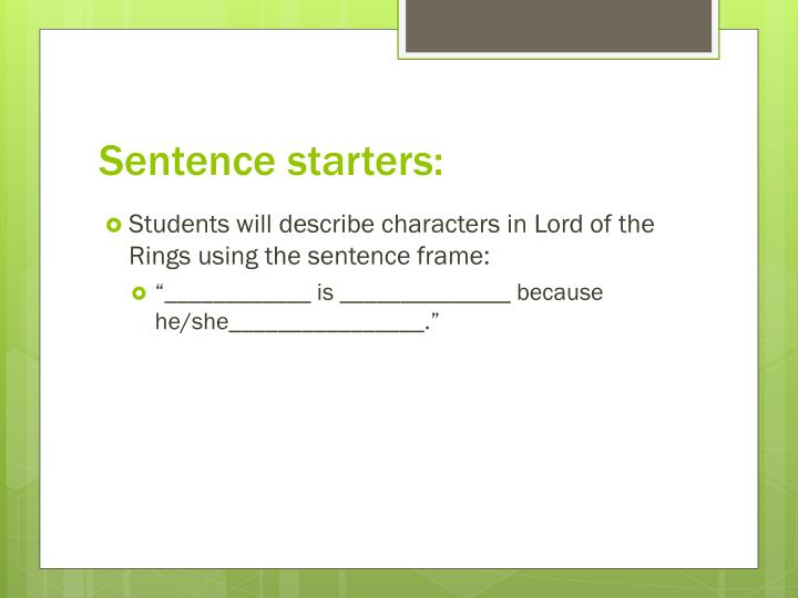 Sentence starters: