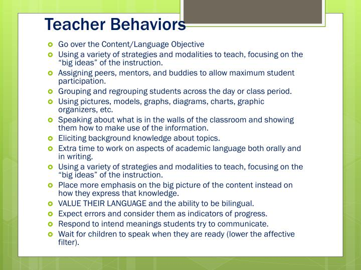 Teacher Behaviors