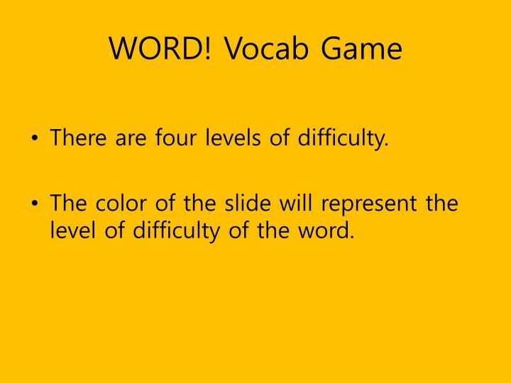 WORD! Vocab Game