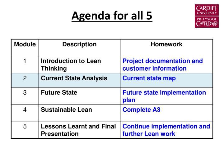 Agenda for all 5
