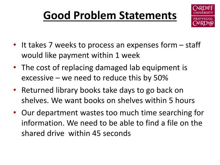 Good Problem Statements