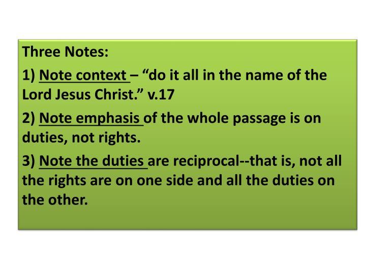 Three Notes: