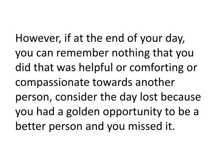 However, if at the end of your day, you can remember nothing that you did that was helpful or comforting or compassionate towards another person, consider the day lost because you had a golden opportunity to be a