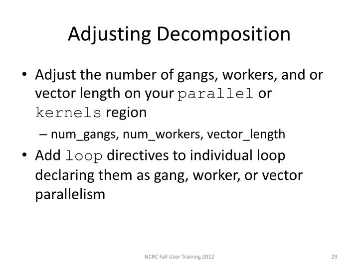 Adjusting Decomposition