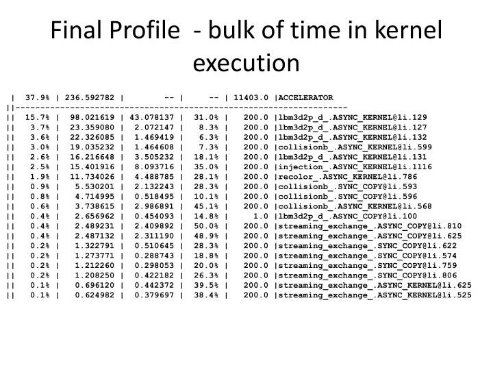 Final Profile  - bulk of time in kernel execution