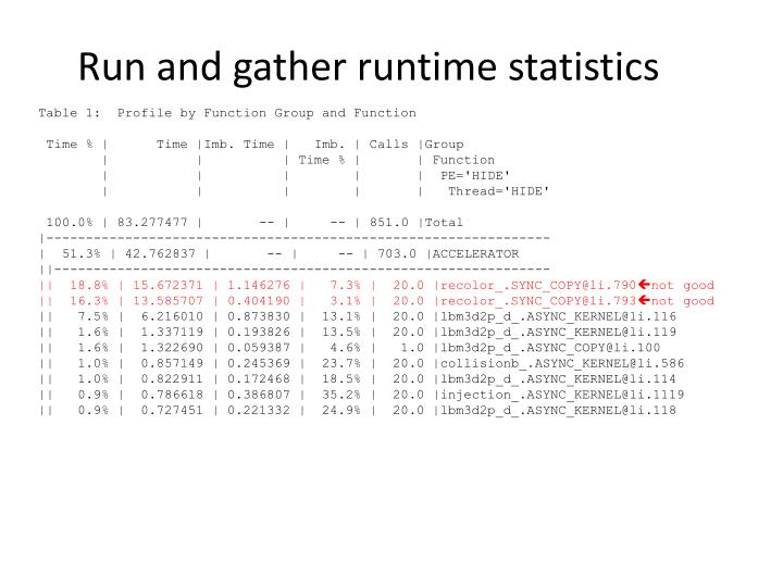 Run and gather runtime statistics