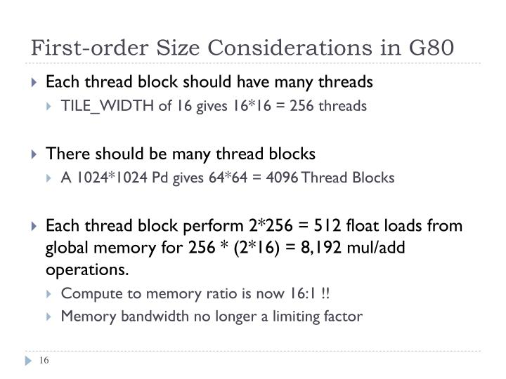 First-order Size Considerations in G80