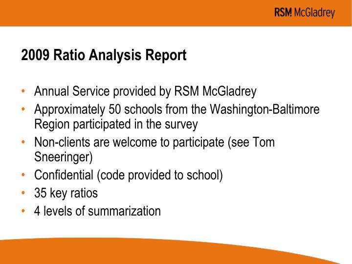 2009 Ratio Analysis Report