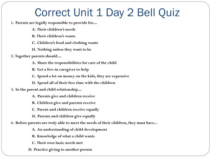 Correct Unit 1 Day 2 Bell Quiz